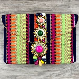 Steve Madden Bzada Embroidered Beaded Clutch